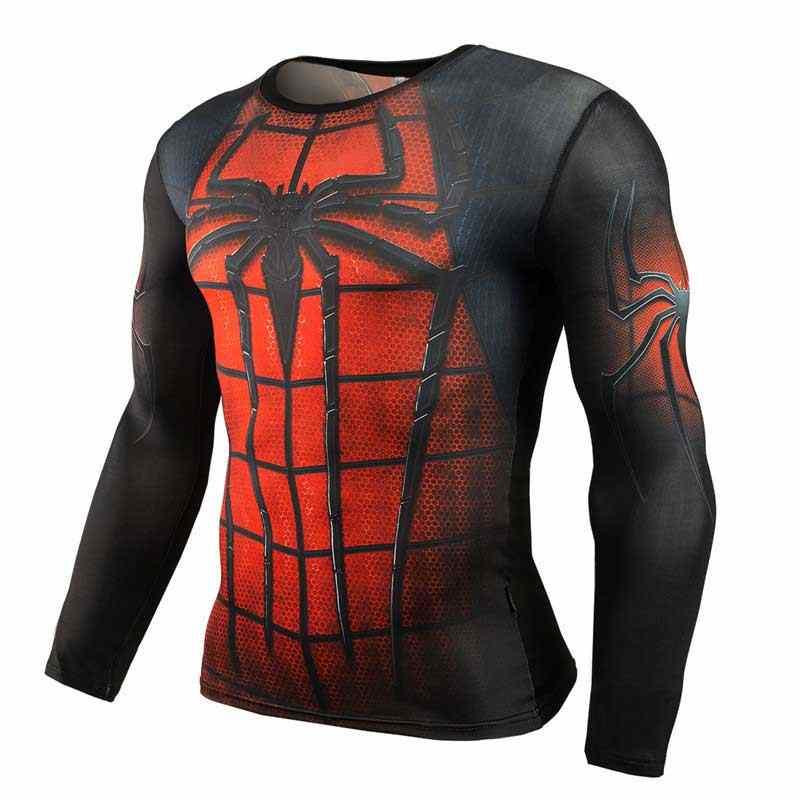 Gymming אימון גברים למעלה השרוול הארוך טי כושר ספורט פועל Yogaing לדחוס Superhero תרגיל ביגוד חולצת ספיידרמן T