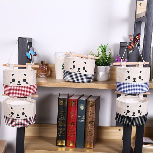 Small Cotton Linen Storage Bag Debris Space Save Pockets Creative Wall  Hanging Behind Door Organizer Bathroom