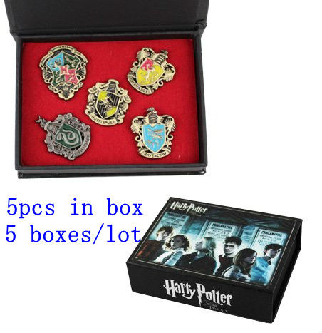Wholesale 5sets/lot HARRY POTTER Doll Toys  HOGWARTS Badge Brooch 5pcs in set for Comic Con cosplay yakury n 5 comic