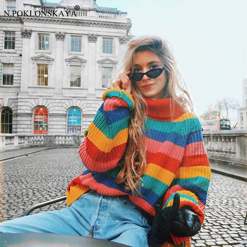 N.POKLONSKAYA Fashion Women Turtleneck Sweater Autumn Tops Christmas Sweaters Pullover Colorful Striped Female Jumper pull femme
