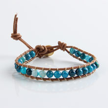 New 1 Strands Leather Natural Blue Onyx 6mm Beads Bracelet for Women and Men Handmade Friendship Bracelets Gift Jewelry(China)