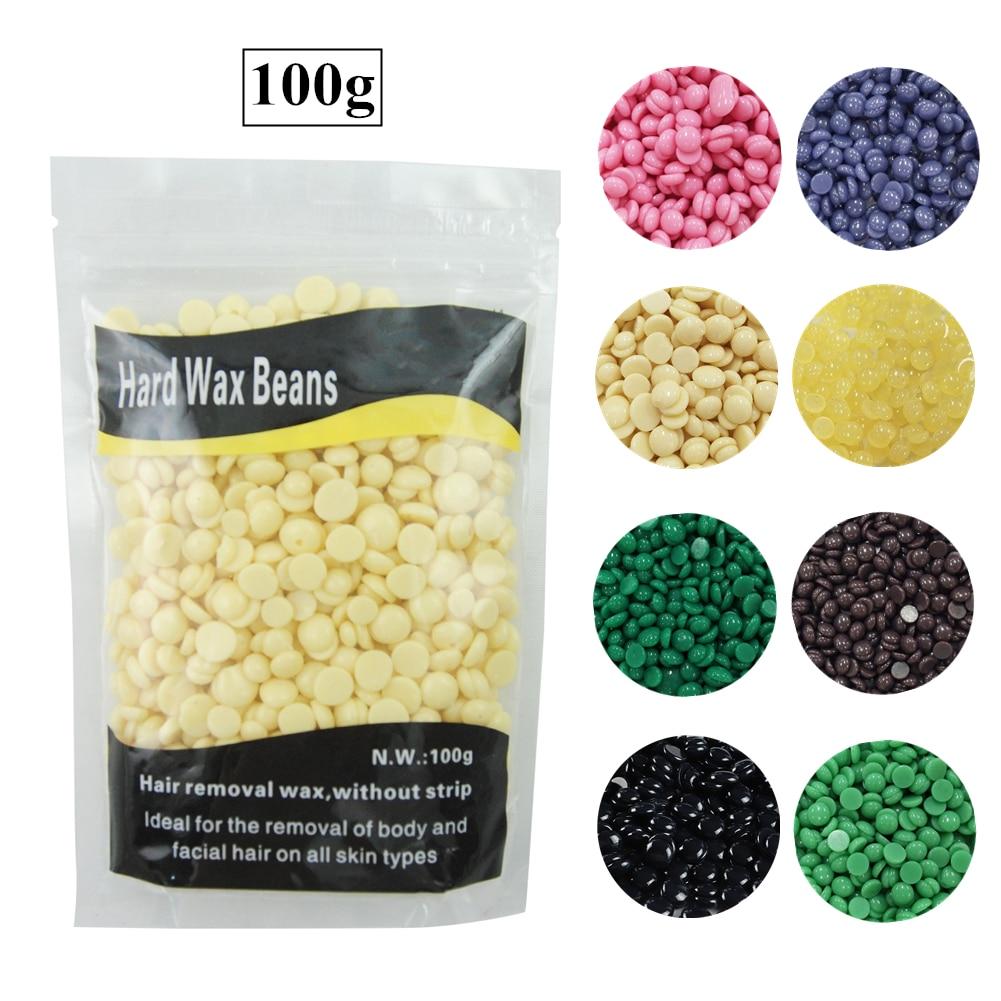 COSCLEIA 100g Hard Wax Beans Wax For Depilation Hair Removal 9 Flavor Beads For Wax Warmer Hard Wax Wax Bead Hair Remover Tools