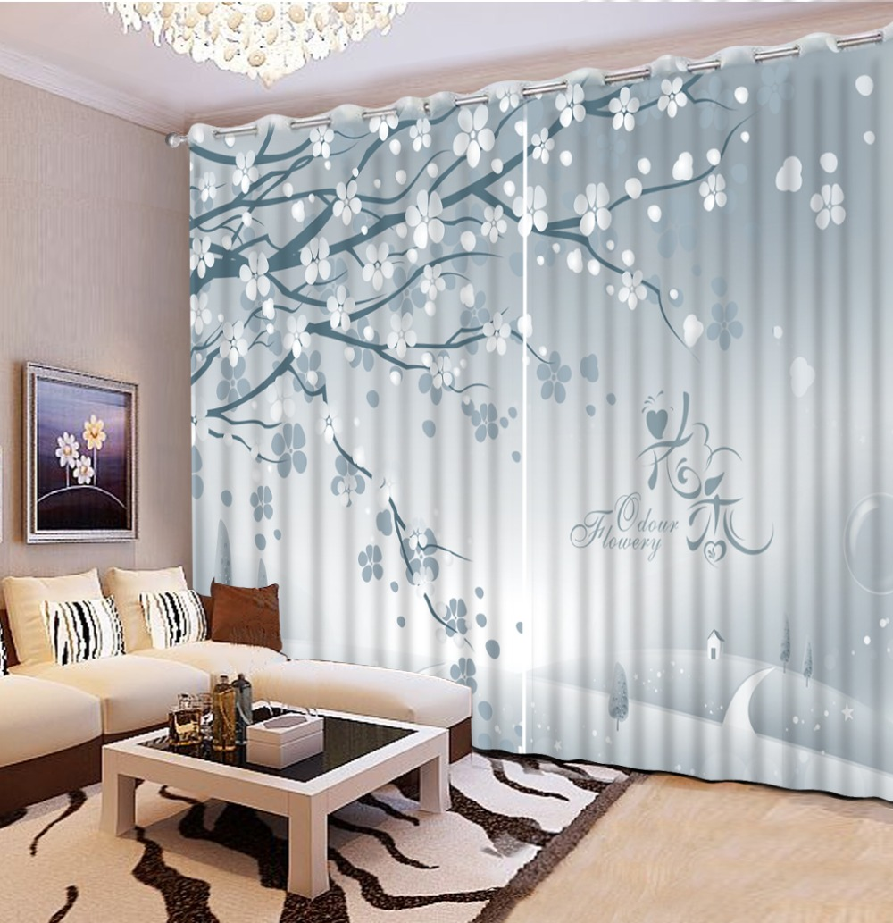 US $50.4 58% OFF|European brief 3D Curtain Photo Printing tree Window  Curtains For Living room Bedroom fashion silver gray Blackout Curtains-in  ...