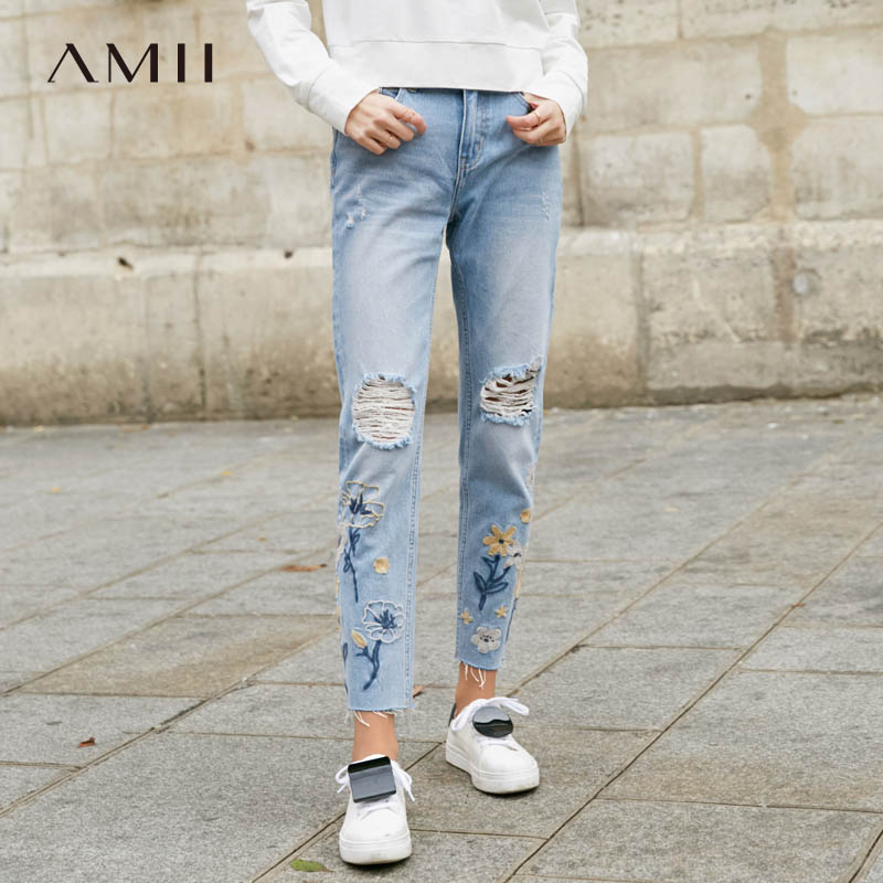Amii Causal Denim Straight Pants Women 2019 Spring Streetwear Embroidery Floral Hole Ripped Bleached Boyfriend Jeans