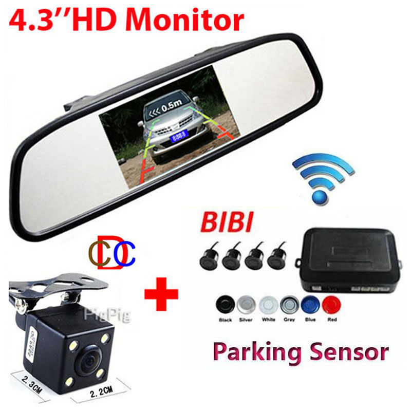 Wireless 4.3'' LCD 800x 480 Car Mirror Monitor& CCD Car Rear View Camera+Auto Parking Video Reverse Radar car parking sensor