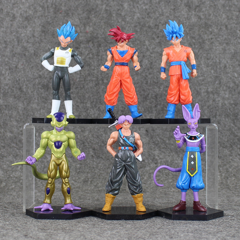 Dragon Ball Figures Goku Vegeta Frieza Trunks Beerus Model Toy Cool Super Saiyan Doll for Kids Battle of Gods 6pcs/lot  new goku 14cm vegeta goku trunks dragon ball z resurrection f super saiyan god comics pvc action figures toy for kids