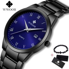 WWOOR Men Luxury Brand Sport Watches Water Quartz Hours Date Hand Clock Men Full Stainless Steel Wrist Watch relogio Free gift