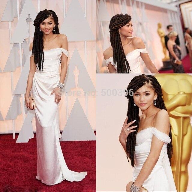 1621a6afe85 Oscars 2015 Academy Awards Dresses Zendaya Coleman Elegant White Celebrity  Dresses Sheath Off Shoulder Gowns
