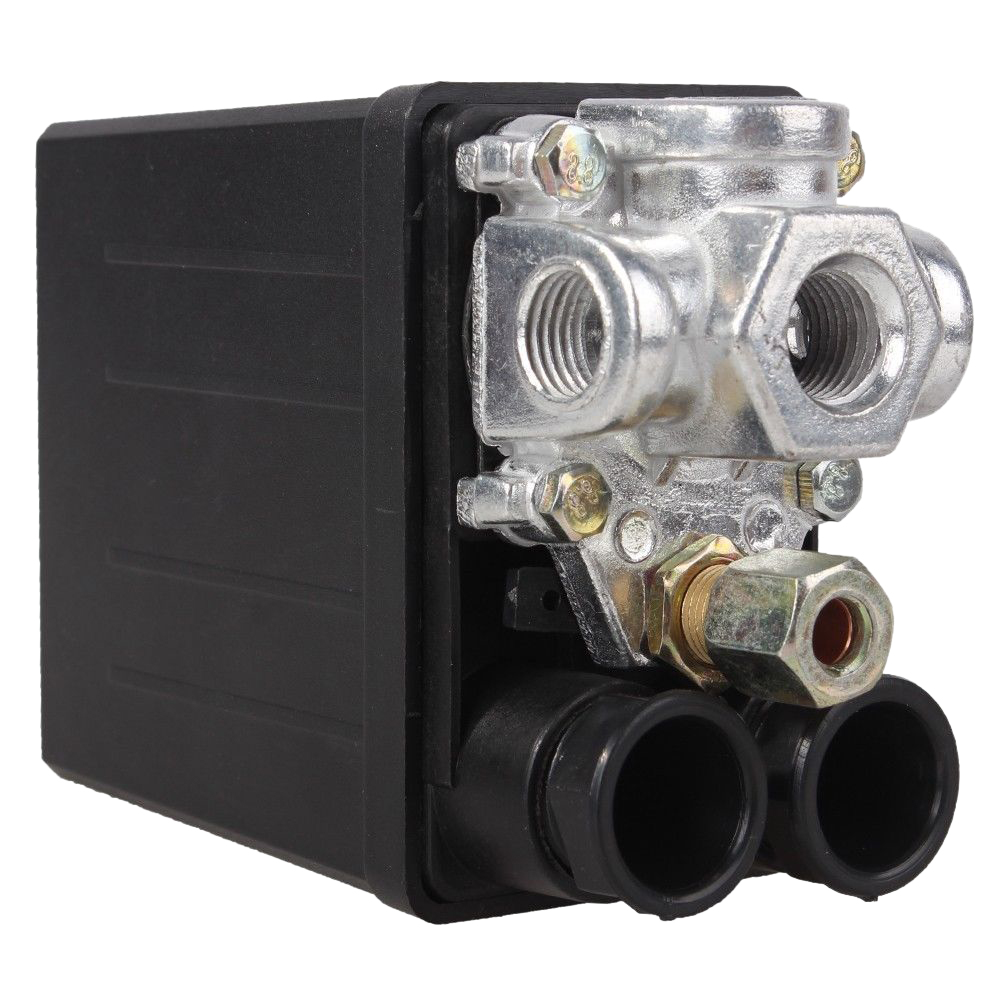 SHGO HOT-Heavy Duty Air Compressor Pressure Switch Control Valve 90 PSI -120 PSI Black heavy duty air compressor pressure control switch valve 90 120psi 12 bar 20a ac220v 4 port 12 5 x 8 x 5cm promotion price