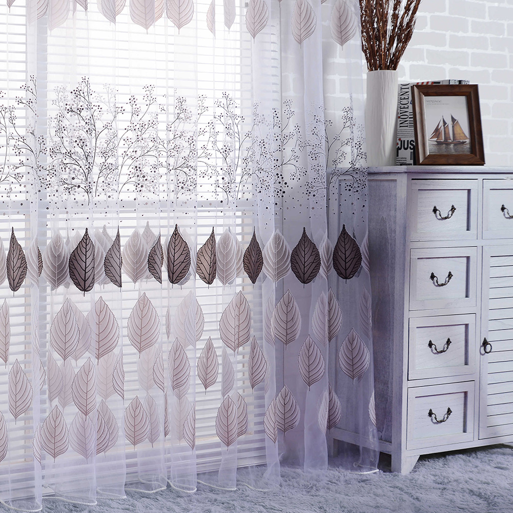 Curtain For Balcony: Leaf Sheer Curtain Balcony Window Tulle Curtains For