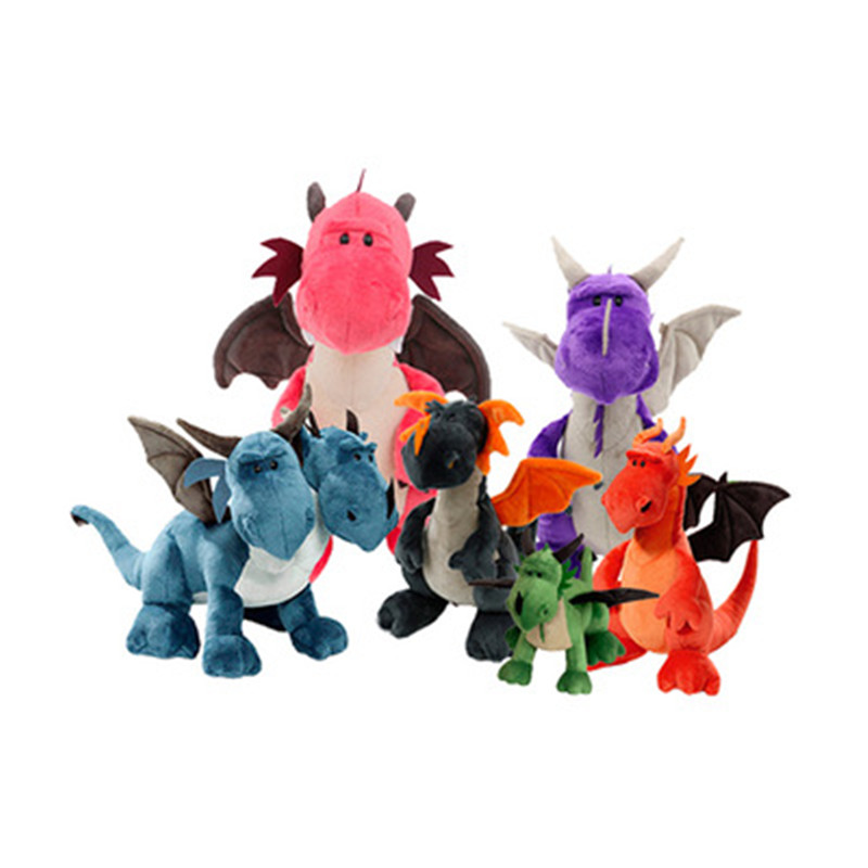 NEW HOT Sale NICI Dinosaur Three Brothers Headed Doll Green Blue Dragon Orange Dragon Plush Toys Birthday Gift Free Shipping