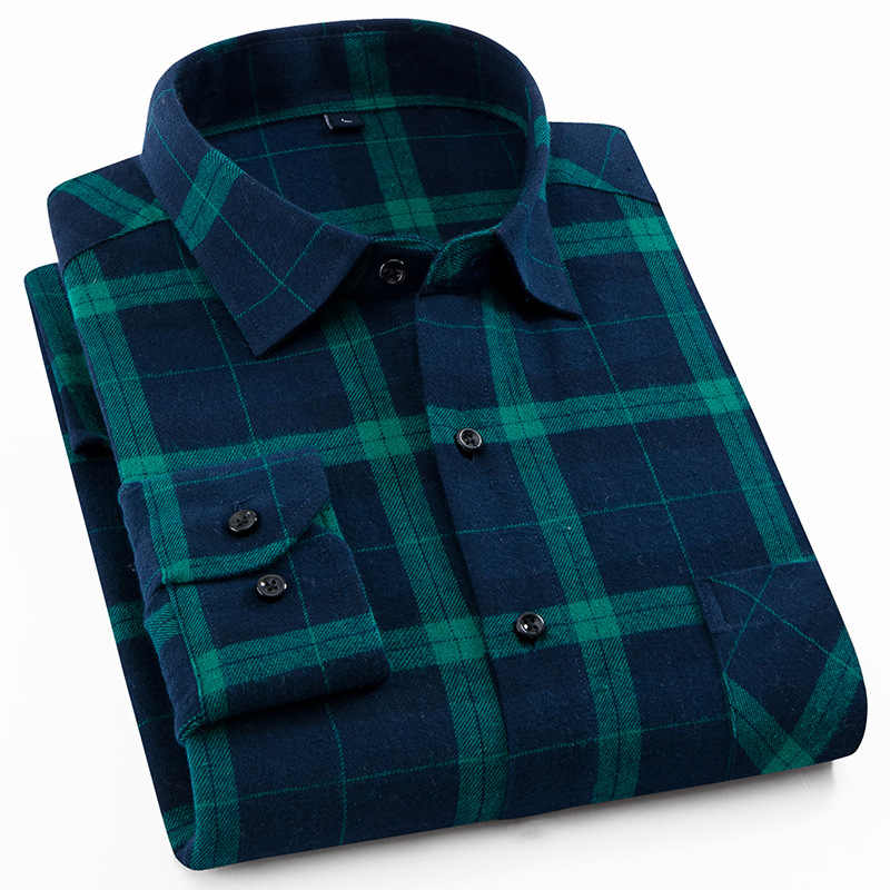 Mens Flannel Shirt Plaid Long-sleeved Cotton Casual Style Brand Male Dress Social Soft Checked Slim Fit Brushed Tops Shirt XXXL