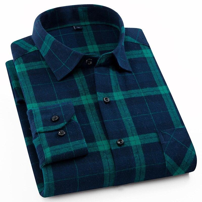 2859e2a103 Camisa de franela para hombre, de manga larga, de algodón, de estilo  informal, para hombre, vestido de marca para hombre, Tops cepillados  ajustados a ...