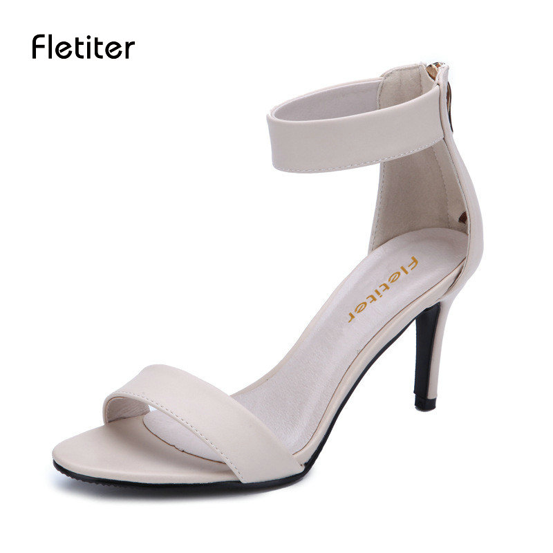 Fletiter New Ankle Strap Genuine Leather Women Sandals Classic Buckle Thin Heels Shoes Summer Sandal Woman Wedding Party Shoes new arrival black brown leather summer ankle strappy women sandals t strap high thin heels sexy party platfrom shoes woman