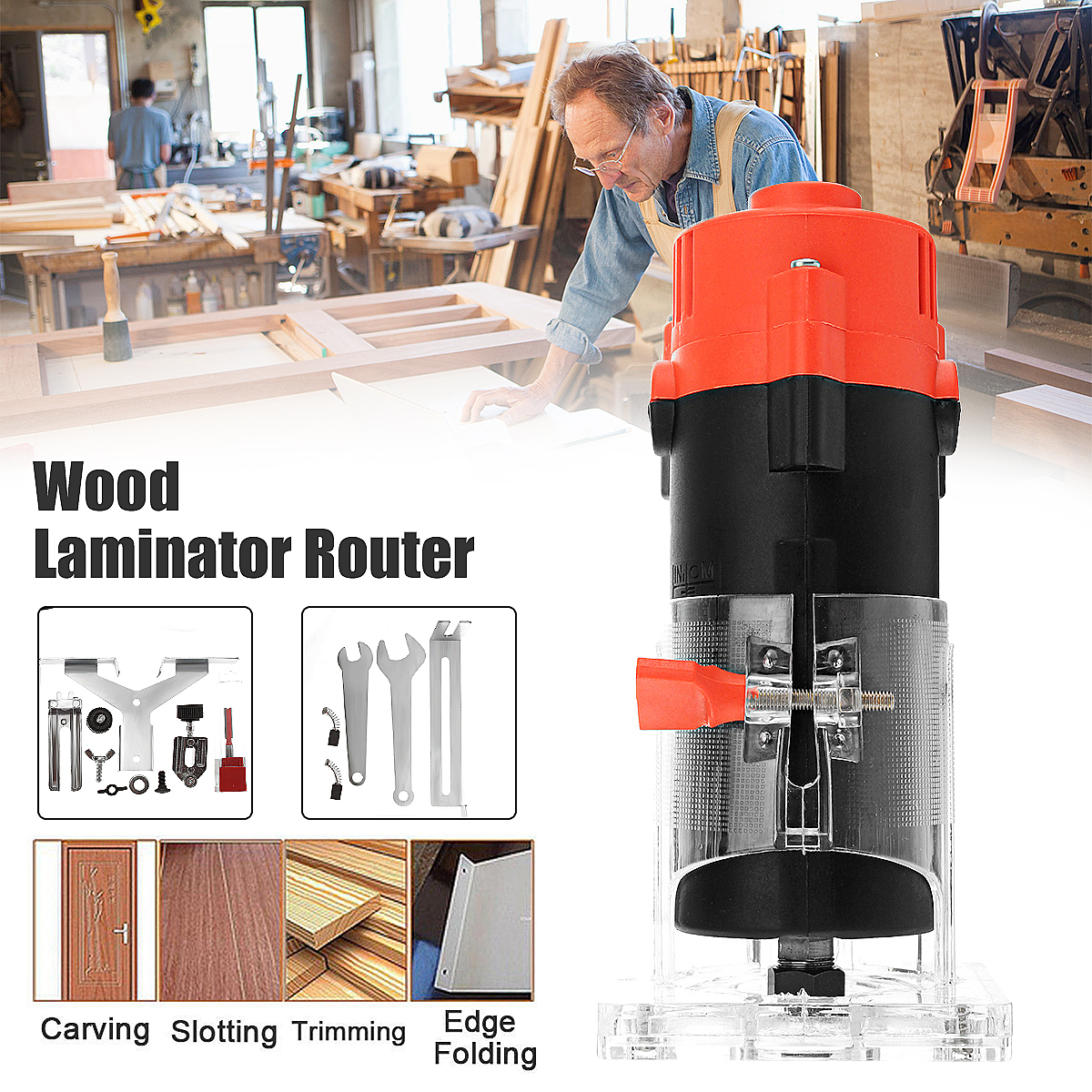 220V 500W Corded Electric Hand Trimmer 6.35mm DIY Wood Laminator Router Power Tools Woodworking Trimming Cutter Carving machinery kitchen furniture decoration hand curves and straight lines trimmer woodworking tools manual trimming knife planing