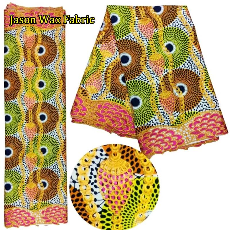 6yds/piece Ankara Wax Lace Fabric African Wax Prints Fabric Ankara Lace Fabric For Sewing Dress LBL