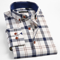 Men's 100% Cotton Long Sleeve Contrast Plaid Dress Shirt Male Smart Casual Tops Slim Fit Adjustable Cuff Button Down Shirts