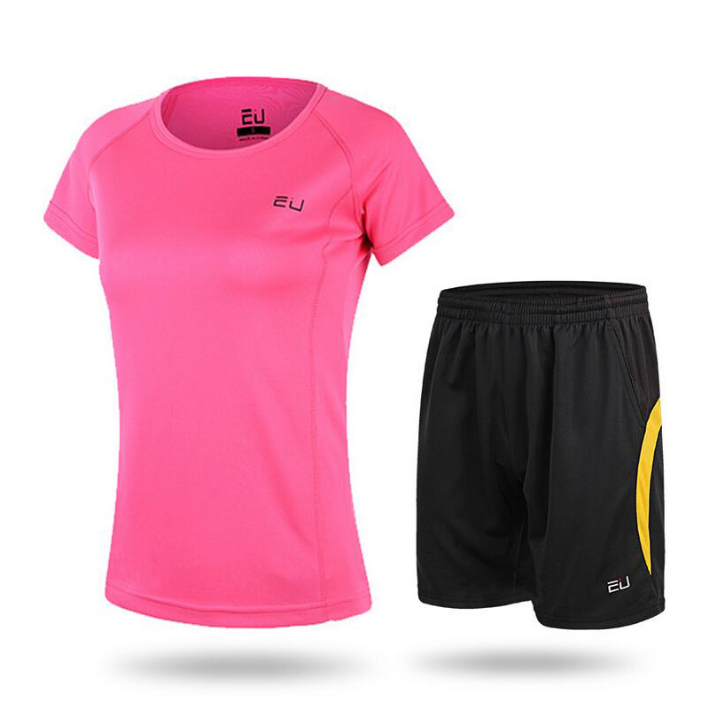 EU Womens Summer Sportswear Outdoor Running Short-sleeved quick-drying T-shirt With Shorts Woman Fitness Underwear Tight Wear