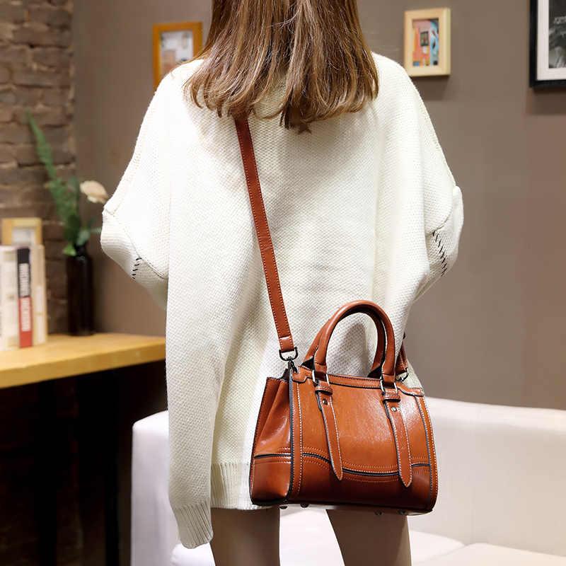 Vintage Tote תיקי עור אמיתי נשים תיקים באיכות גבוהה רב תפקודי נשים עור שקיות המוצ 'ילה Bolsas מקרית חדש T49