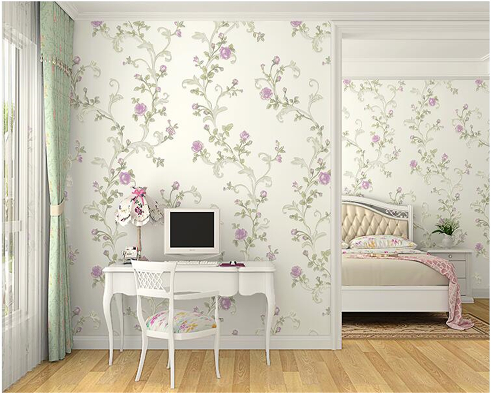 korean bedroom nigeria living paper warm cost contemporary rooms simple floral nonwoven beibehang pastoral papel pattern