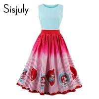 Sisjuly women vintage dress 1950s patchwork character print cute dresses retro stripe sleeveless elegant female vintage dresses