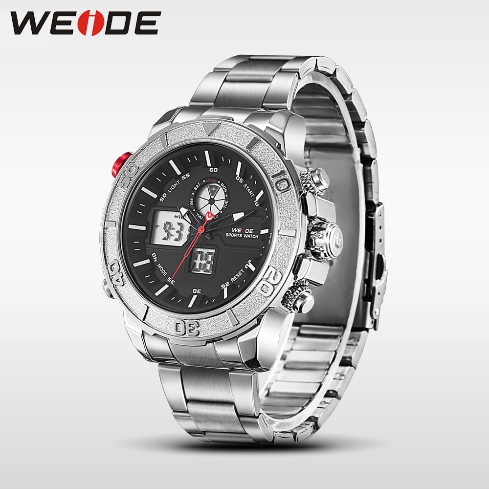 Hot WEIDE men watches top brand luxury men watch stainless steel date digital led relogio masculino saat water resistant in Digital Watches from Watches