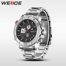 купить 2017 hot WEIDE men watches top brand luxury men watch stainless steel date digital led relogio masculino saat water resistant по цене 1285.64 рублей