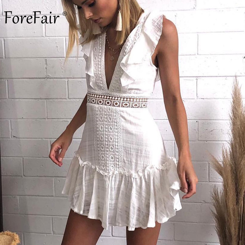 Forefair Summer <font><b>Dress</b></font> Ruffle <font><b>Hollow</b></font> Out White Pink Off Shoulder V Neck <font><b>Lace</b></font> Up Elegant <font><b>Backless</b></font> A Line Mini <font><b>Sexy</b></font> <font><b>Dress</b></font> <font><b>Dress</b></font> image