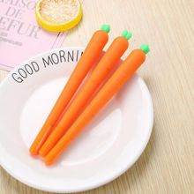 1 шт мультфильм морковная ручка черный стержень сменный гелевый