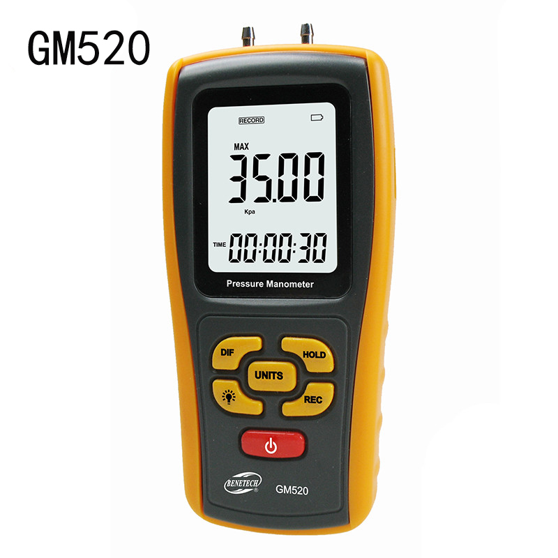 GM520 Temperature Compensation Digital Pressure Manometer Gauge Differential Tester Measuring range: +/-35kPa lcd pressure gauge differential pressure meter digital manometer measuring range 0 100hpa manometro temperature compensation