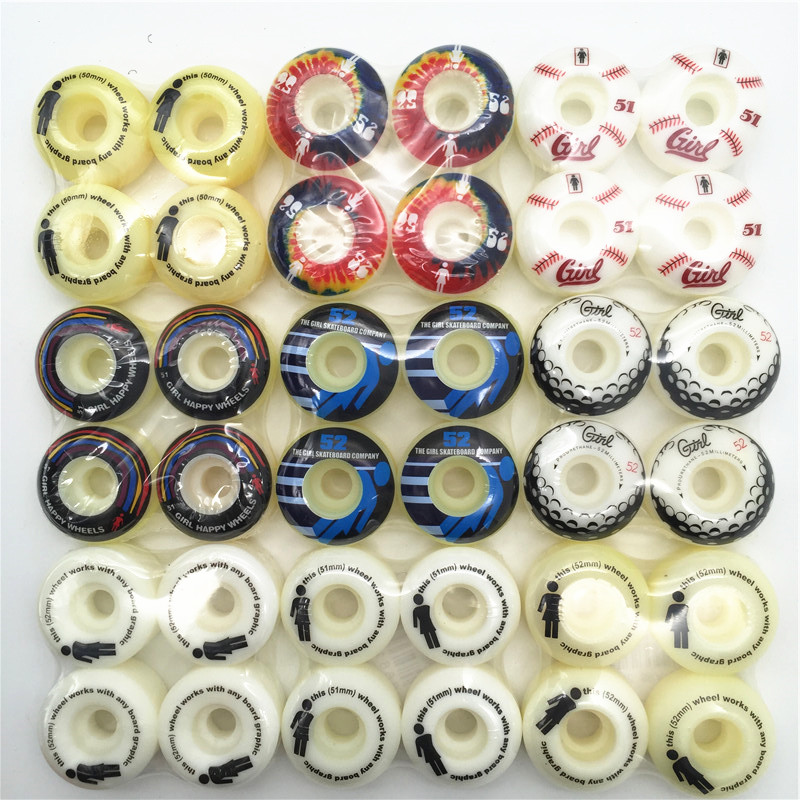 4pcs/SET Skateboard Graphics Cheap Skateboard Wheels 50mm/51mm/52mm/53mm Wheels Skate Boards PU Rodas De Skate