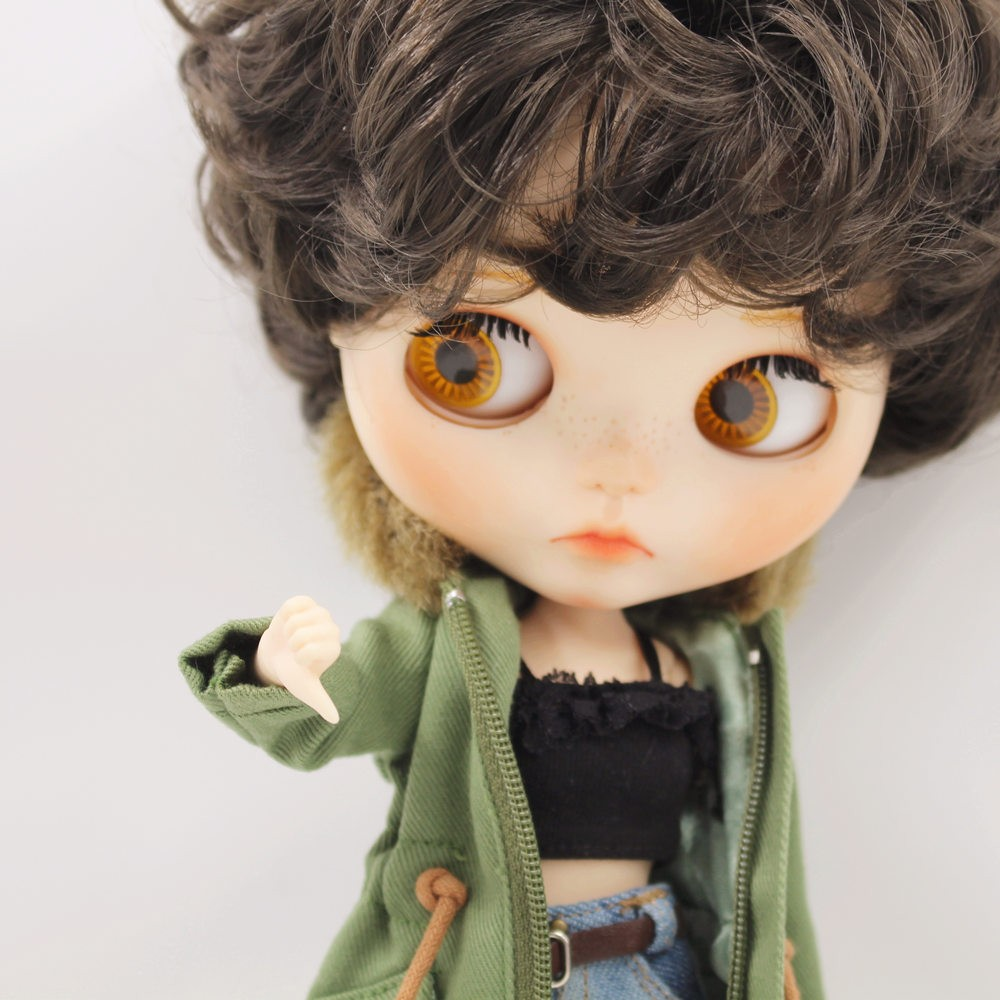 Neo Blythe Doll Denim Shorts Black Lace Bra With Green Army Jacket 3