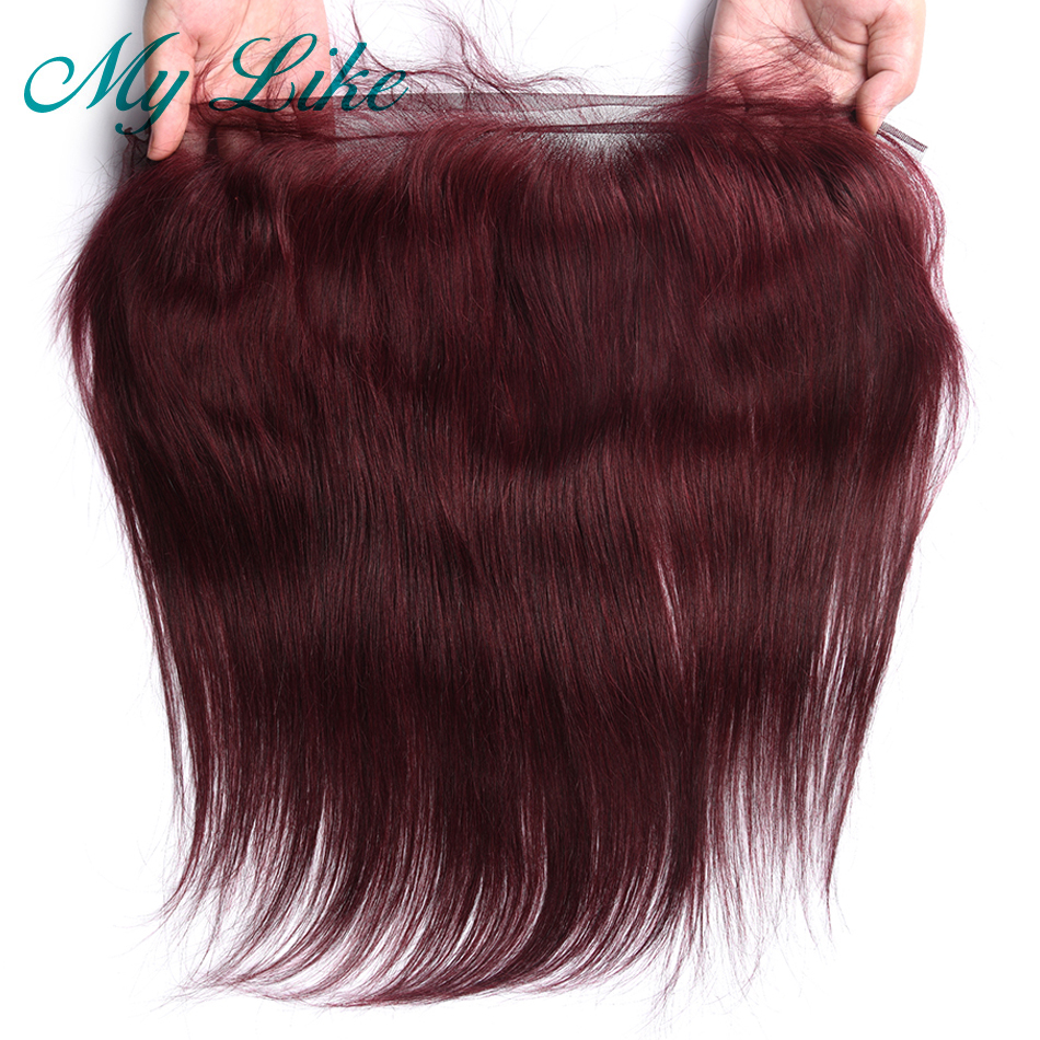 My Like 99j Burgundy 13x4 Lace Frontal Indian Straight Non-Remy Human Hair Closure Free/Middle Part Ear To Ear Frontal Closure