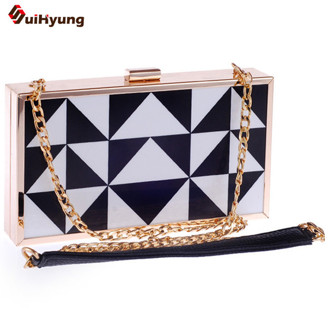 2016 New Women Plaid Acrylic Clutch Fashion Spell Color Black and White Evening Bag Party Handbag Chain Shoulder Bag