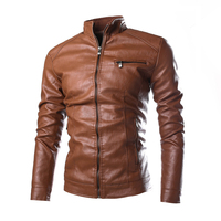 2019 New Fashion Men's Solid Color Leather Jacket , High quality PU leather stand collar slim jacket jacket Brown, black