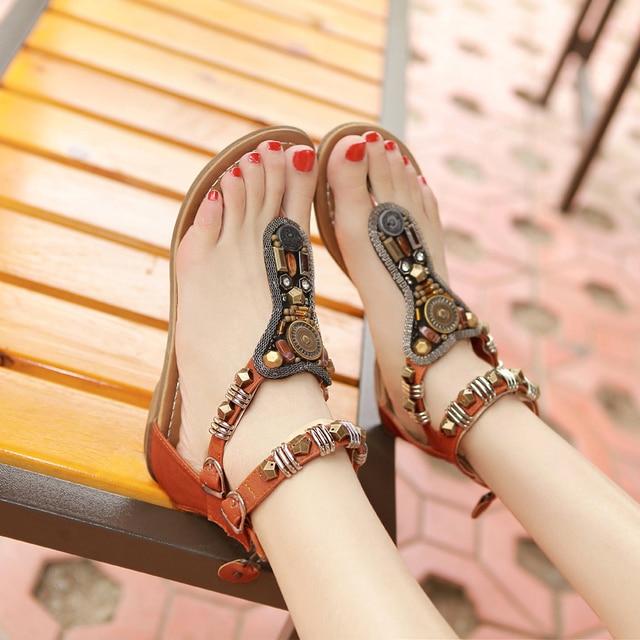 b53cce6db summer beach women thong rhinestone sandals T strap flat heel shoes  bohemian sandals flip flops student beads coins retro shoes