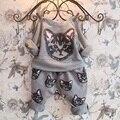 Детская одежда бренды девушки комплектов одежды кошка печати мода длинные рукав хлопок 2 шт. Набор детский костюм Случайные девочка спортивная костюм