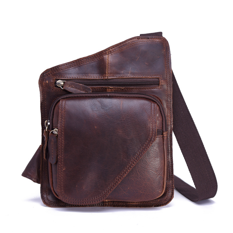 New 2018 Fashion Vintage Casual Crazy Horse Leather Genuine Cowhide Men Chest Bag Small Messenger Bags For Man Shoulder Bags hot 2017 new arrival fashion leather men messenger bags high quality casual small chest packs vintage brown shoulder bags bolsos