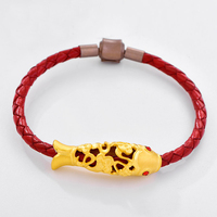 New Arrival Pure 24K Yellow Gold Bracelet 999 Gold Hollow Fish Bracelet 3.19g