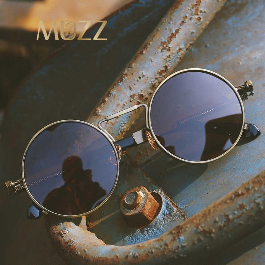 76d0becfb MUZZ 2019 Brand Designer Small Round Steampunk Sunglasses Men Women Metal  Frame Vintage Polarized Sun Glasses