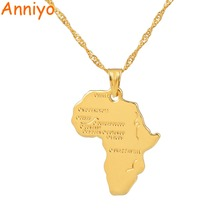 Style Africa Map Pendant Necklace for