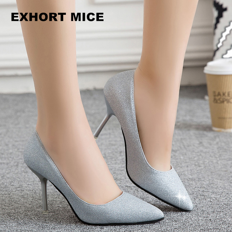 2018 Brand Women Pumps 9CM High Heels Silver Glitter Wedding Shoes Woman High Heels Sexy Ladies Shoes Women High Heel Pumps new 2018 women pumps party bling high heels gold silver fashion glitter heels women shoes sexy wedding shoes