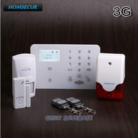 HOMSECUR GA01 3G Wireless WCDMA 3G Home Security Alarm System With Multi Languages Menu