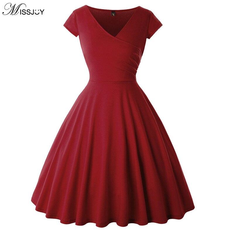 MISSJOY 2019 New Women Vintage Solid Color Summer Plus Size 5XL A-Line Pin Up Cap Sleeve V Neck Cocktail Swing Party Dresses