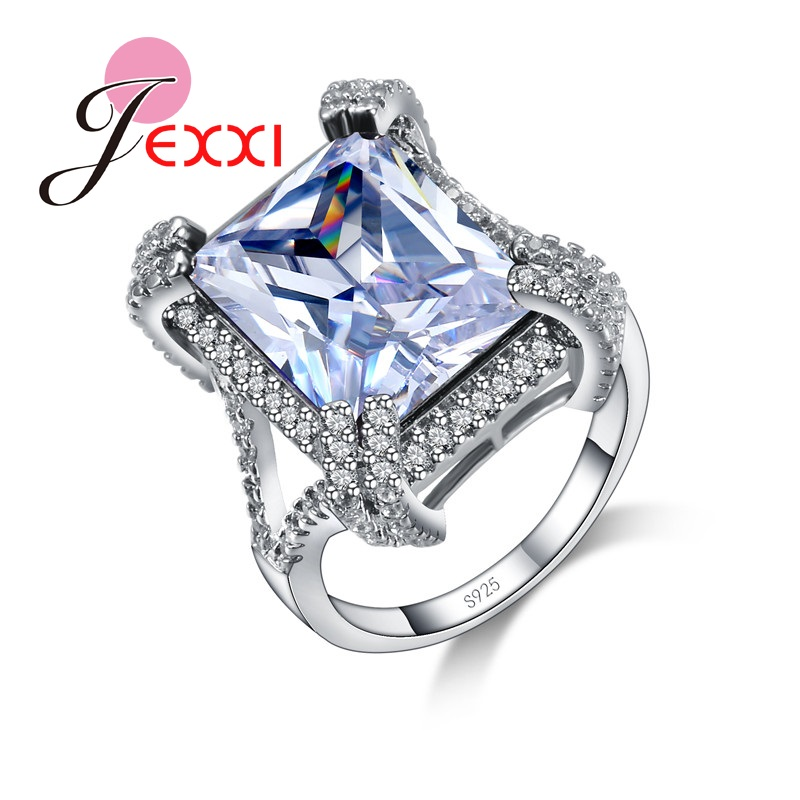 Big Square Crystal Wedding Rings 925 Sterling Silver Jewelry Ring For Women &Girls Birthday Gifts