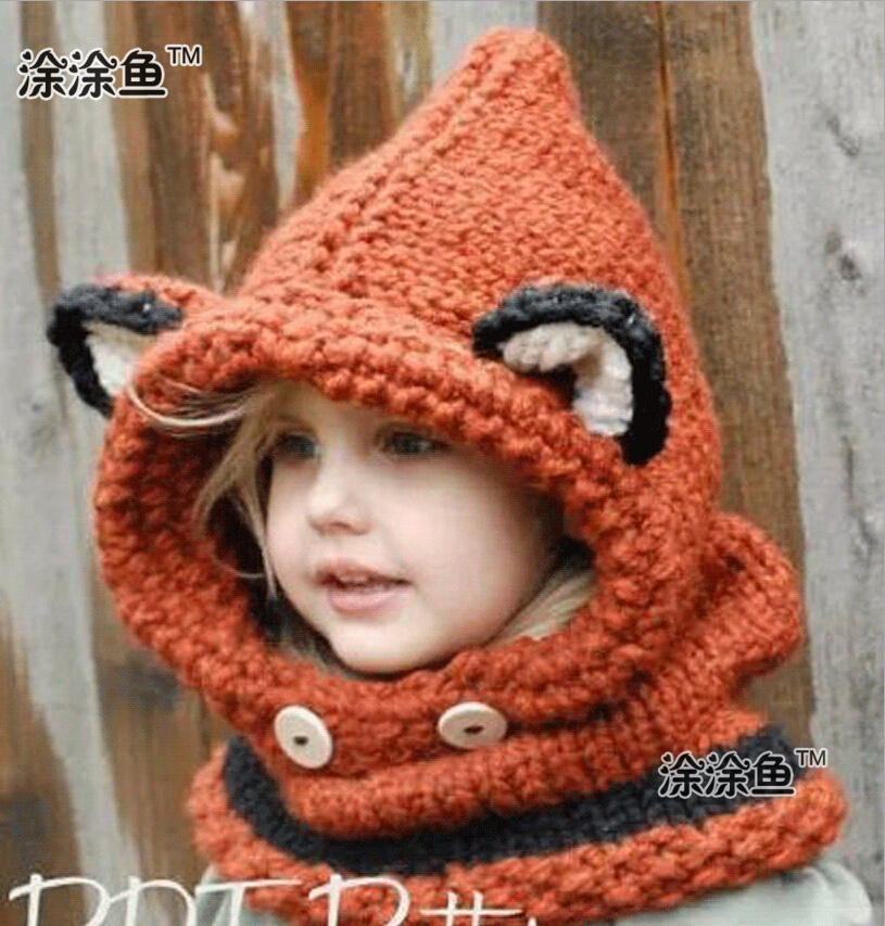 2015 Autumn Winter Fox Animal Baby Hats Caps Kids Girls Boys Warm Woolen  Knitted Coif Hood Scarf Caps Hats Drop shipping-in Skullies   Beanies from  Apparel ... b9ec684eade