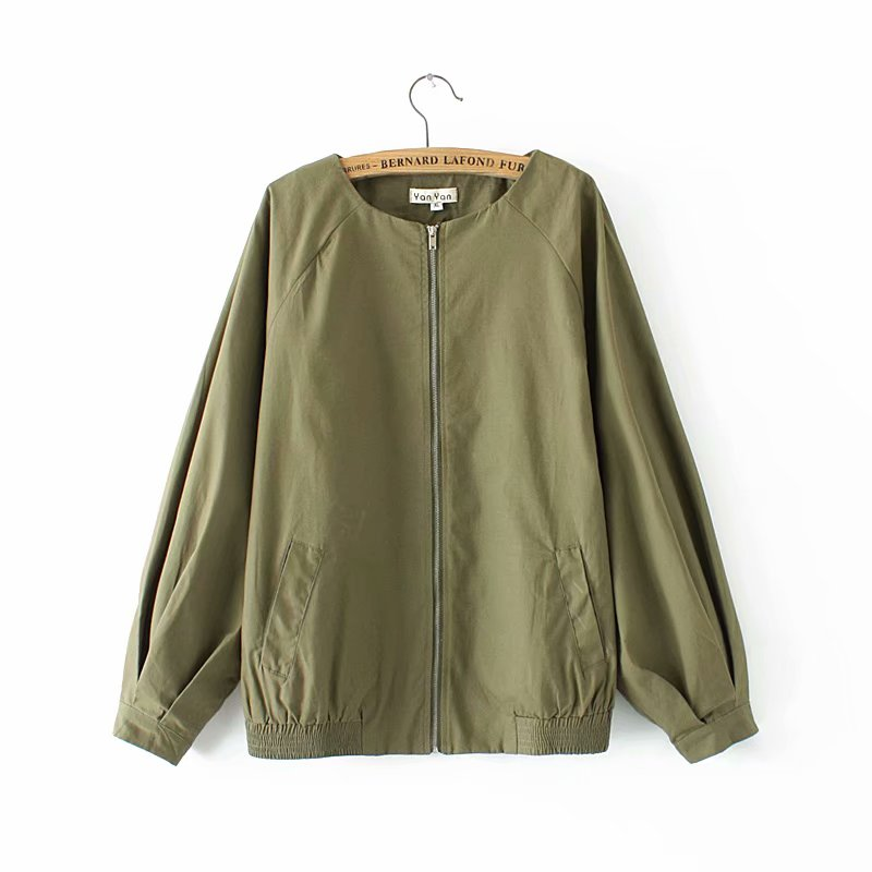 Plus size autumn drop shoulder sleeve women jackets 2018 fashion ladies O Neck lantern sleeve Military green & black Jacket 4XL