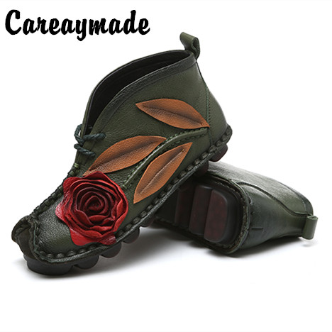 Careaymade New Head layer cowhide pure handmade ankle half short boots quot Sen female quot casual Retro nation style women 39 s Boots in Ankle Boots from Shoes