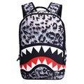 Мода Leopard Акула Рот печати рюкзаки для девочек-подростков 18 дюймов женщины рюкзак большой емкости сумка для ноутбука bagpack