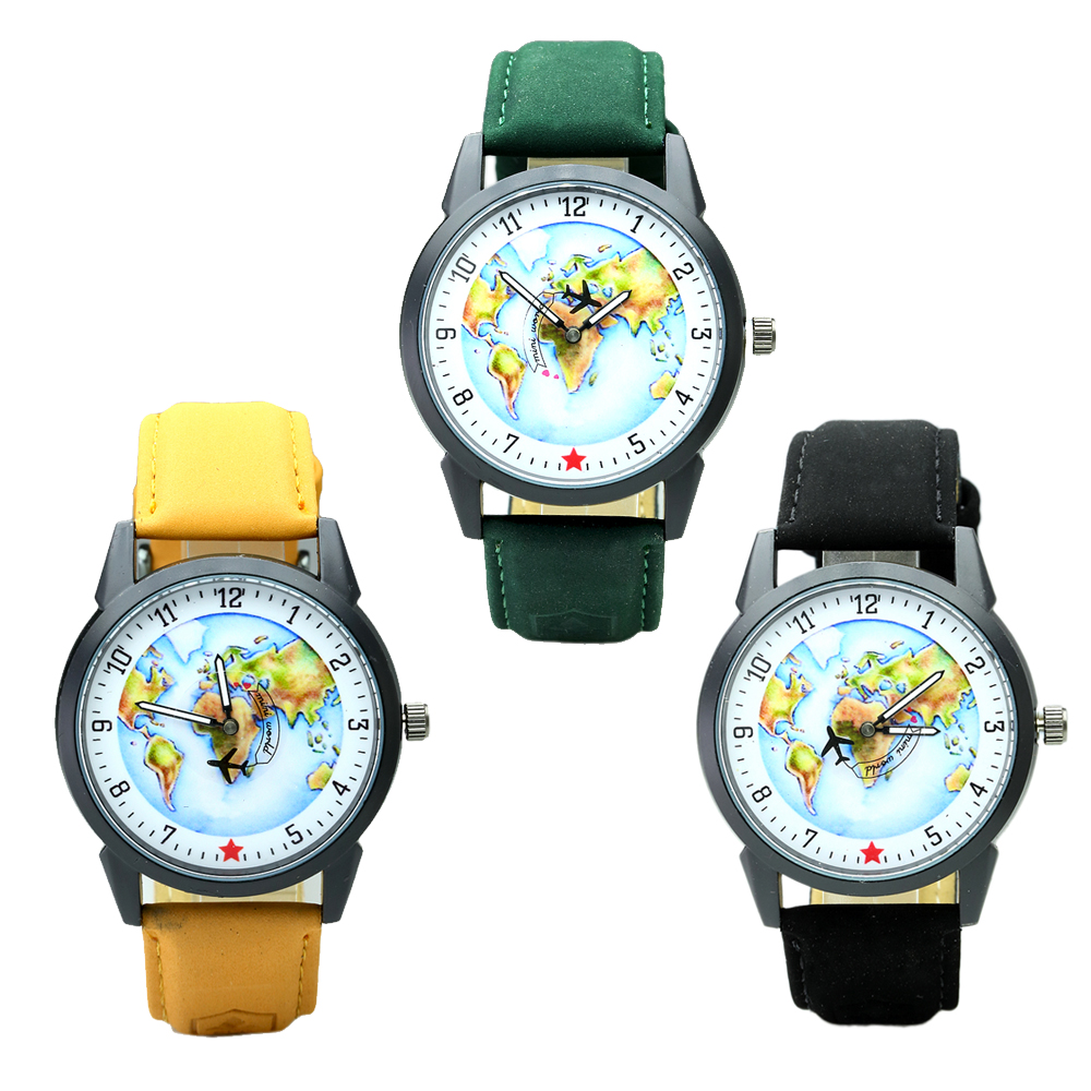 Top Brand Watch For Men Global Travel By Plane Map Dial Wrist Watches Mens Vintage Denim Leather Analog Quartz Watch Reloj 2017
